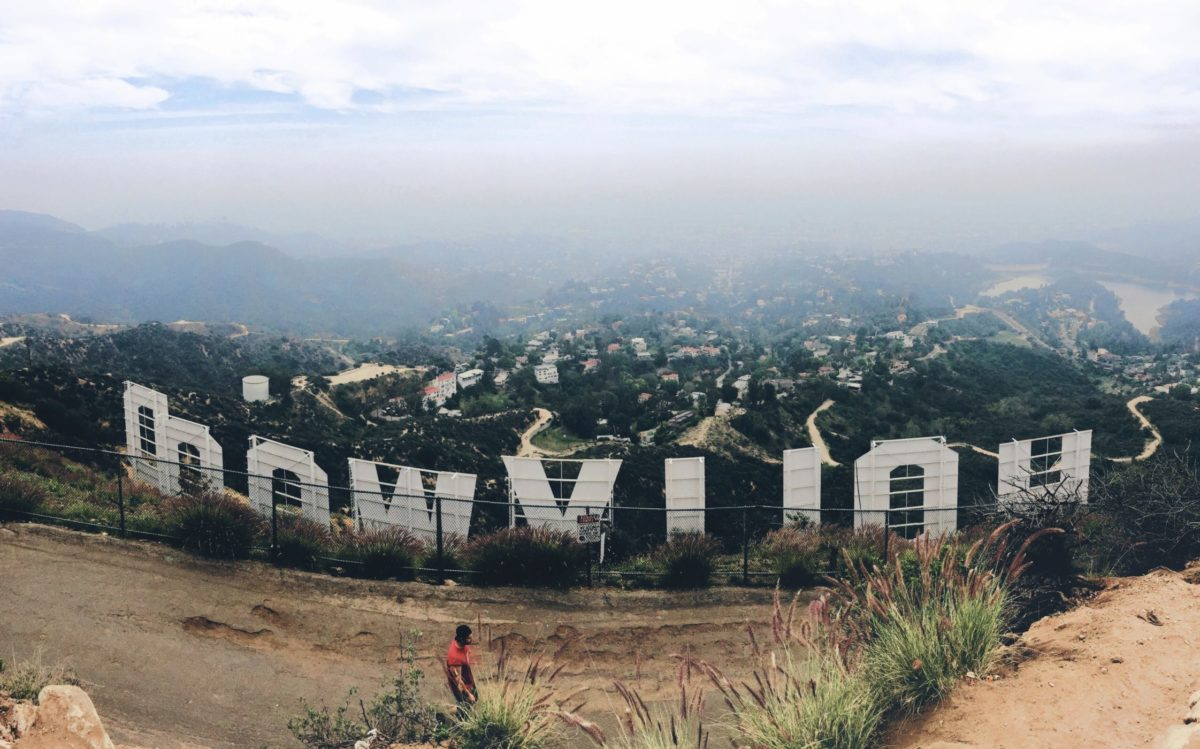 Hollywood sign with Los Angeles in background