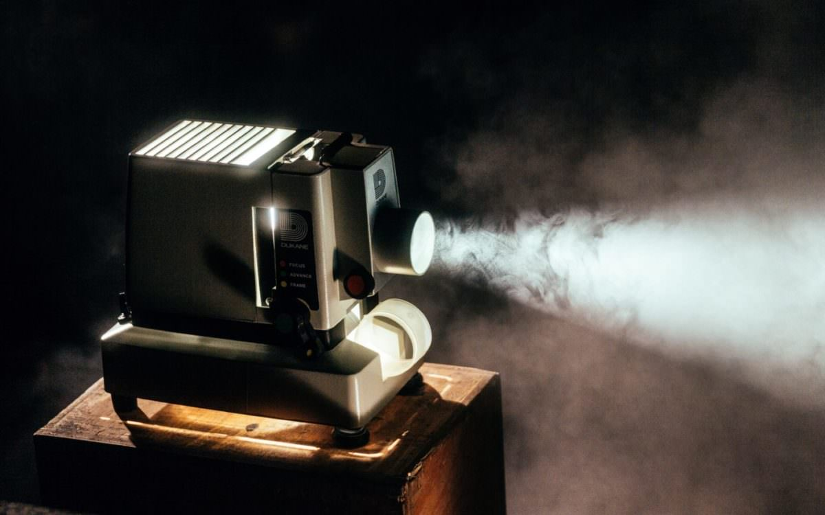 Photo of an old-fashioned film projector