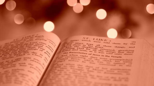 Bible open to the Gospel of Luke