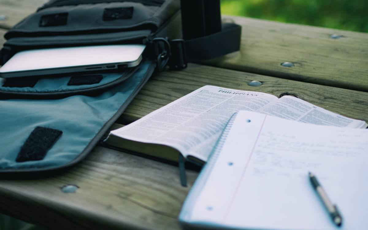 Photo of Bible and study materials