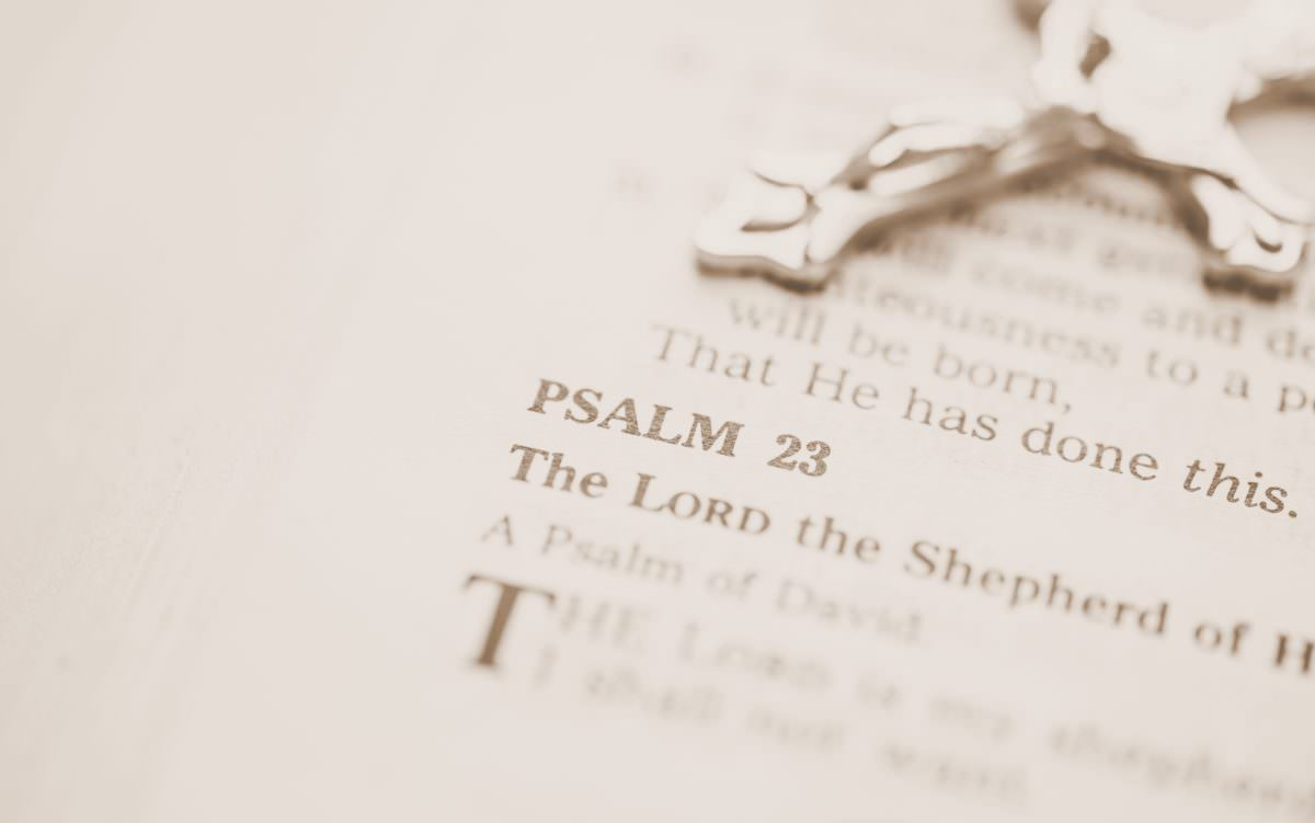 Photo of Bible open to Psalm 23