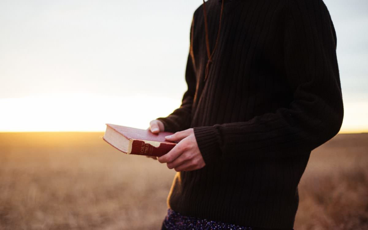 Person holding Bible in hands