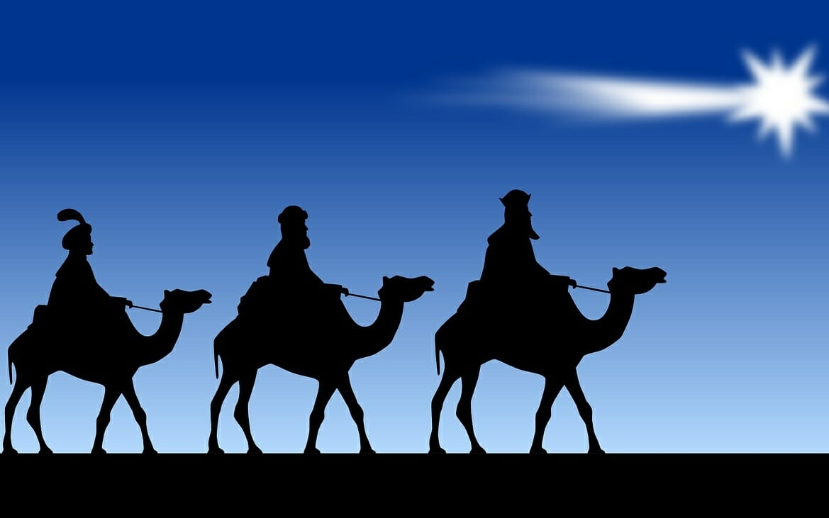 Graphic of the three magi and the Bethlehem star